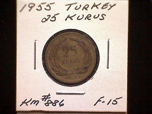 1955 TURKEY TWENTY-FIVE KURUS