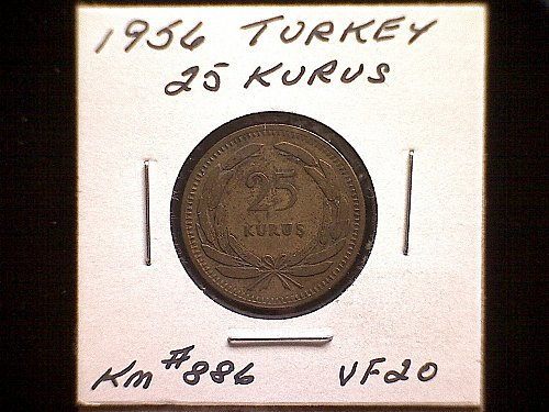 1956 TURKEY TENTY-FIVE KURUS