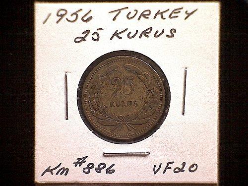 1956 TURKEY TENTY-FIVE KURUS