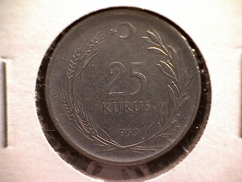 1959 TURKEY TWENTY-FIVE KURUS