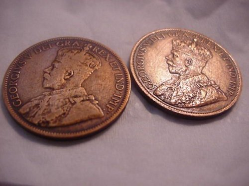 1918 and 1919 large cent canada