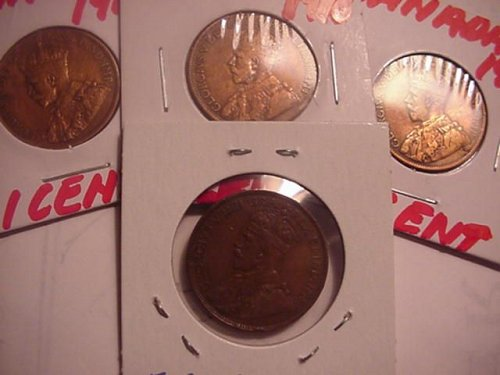 4-canada large cents 1916,1918,1919,1920