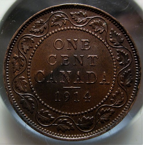 1914 CANADA LARGE ONE CENT NICE GRADE   Dark Patina