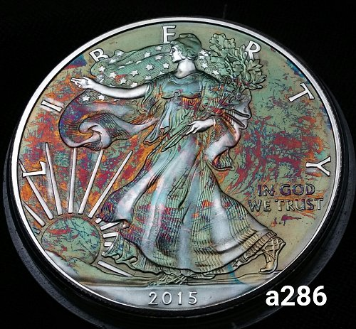 2015 Rainbow Toned Silver American Eagle 1 troy ounce silver #a286