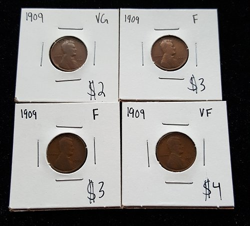 Lot of 4 1909 Wheat Cents