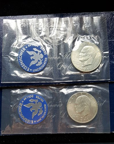 Lot of 2 1971 S Blue Envelope Silver Ike Dollars