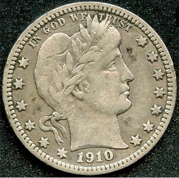 1910 Barber quarter dollar