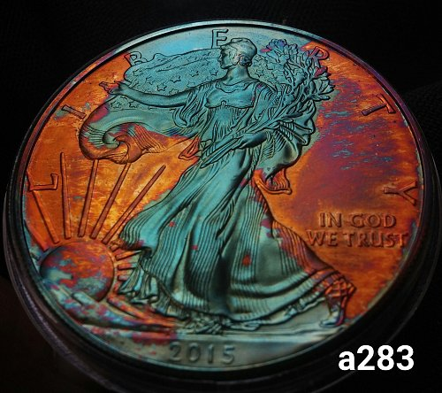2015 Rainbow Toned Silver American Eagle 1 troy ounce silver #a283