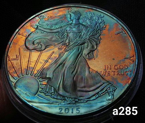2015 Rainbow Toned Silver American Eagle 1 troy ounce silver #a285