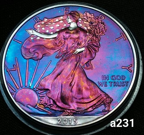 2015 Rainbow Toned Silver American Eagle 1 troy ounce silver #a231