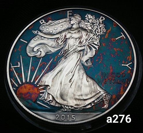 2015 Rainbow Toned Silver American Eagle 1 troy ounce silver #a276