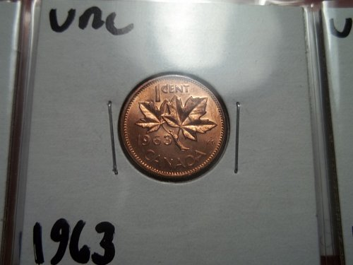 1963 Uncirculated Candian Penny 1 Cent