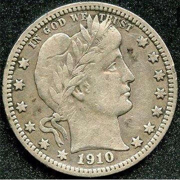 1910 p Barber quarter
