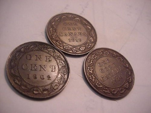 3-large cents 1902,1919,1920 canada