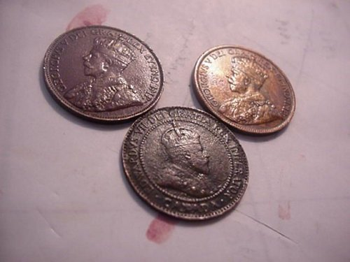 3-large cents 1909,1917,1920 canada