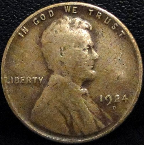 Improperly Cleaned 1924-D Lincoln Wheat Cent - (G Details)