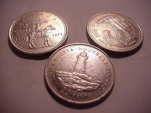 3-canada quarters 1973,1992,1999