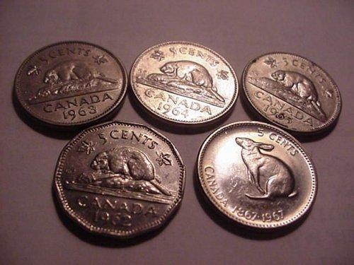 5-canada nickels 1962,63,64,65,67