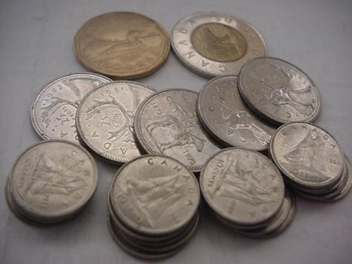 mixed lot canada 20-dimes,5- quarters 1-loon dollar and 1-2 dollar bear coin