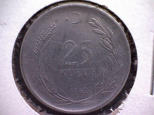 1962 TURKEY TWENTY-FIVE KURUS