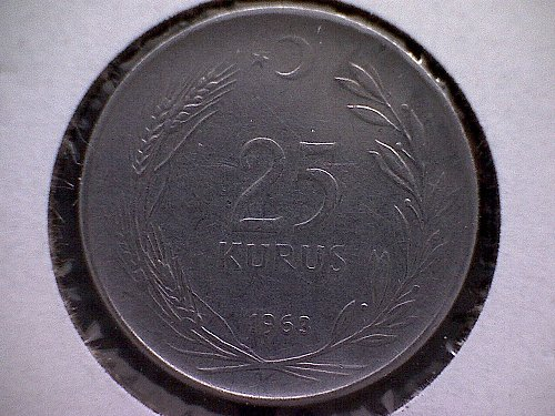 1963 TURKEY TWENTY-FIVE KURUS