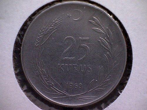 1963 TURKEY TWENTY-FIVE KURUS