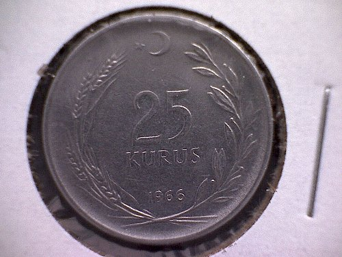 1966 TURKEY TWENTY-FIVE KURUS