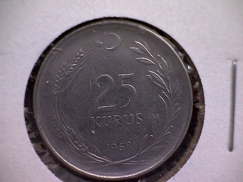 1968 TURKEY TWENTY-FIVE KURUS