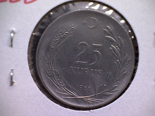 1961 TURKEY TWENTY-FIVE KURUS