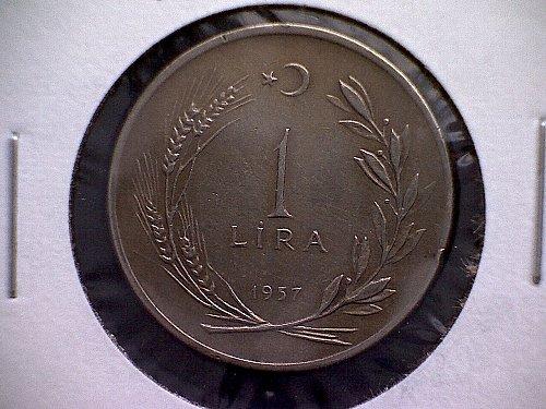 1957 TURKEY ONE LIRA