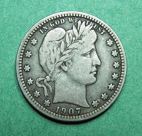 1907 P Barber Quarter Fine Coin   e52