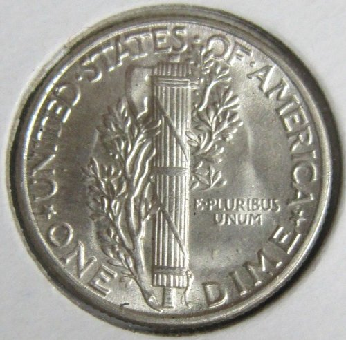 1944 P Mercury silver dime, uncirculated