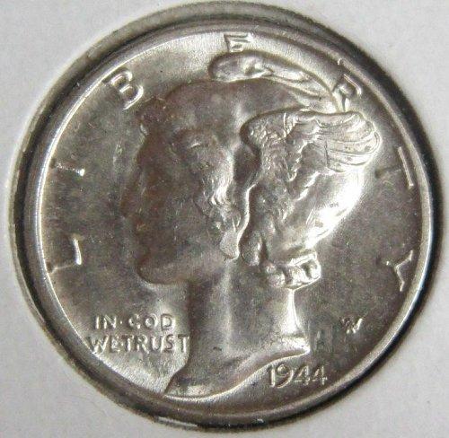 1944 P Mercury silver dime, uncirculated