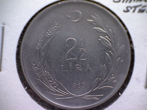 1963 TURKEY TWO & ONE- HALF LIRA