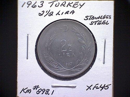 1963 TURKEY TWO & ONE- HALF LIRA