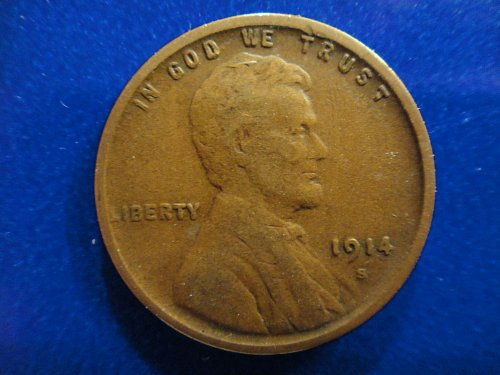 1914-S Lincoln Cent Very Fine-25 With Razor Sharp Wheat Stalks!