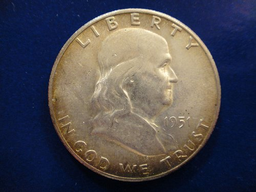 1951-S Franklin Half Dollar AU-55 With Hints of Gold Toning Around Obv Rim!