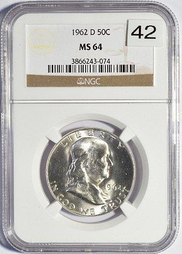 1962 D Franklin Half Dollar, NGC MS 64, (Item 042)
