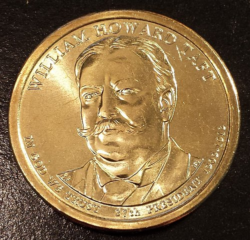 2013-D William Taft Golden Presidential Dollar From US Mint Roll! (6142)