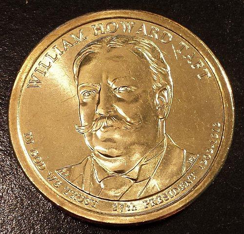 2013-D William Taft Golden Presidential Dollar From US Mint Roll! (6142)