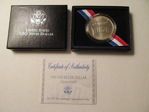 1991 USO Silver Dollar