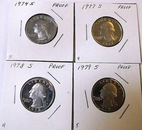 4-proof quarters 1974s,77s,78s,79s