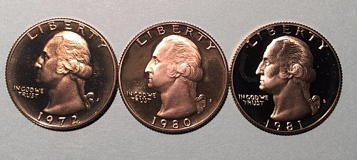 3-proof quarters 1972s,80s,81s