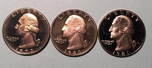 3-proof quarters 1972s,80s,81s