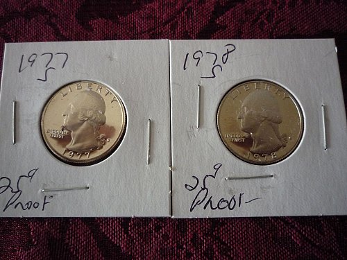 2-proof quarters 1977s & 1978s