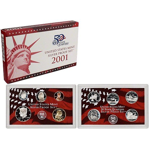 2001 US Mint Silver Proof 10 piece set new with CoA