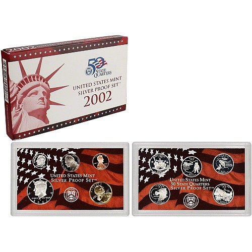 2002 US Mint Silver Proof 10 piece set new with CoA
