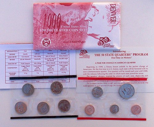 1999 US P-&-D  Eighteen Coin Uncirculated MINT SETS IN ORIGINAL ENVELOPES