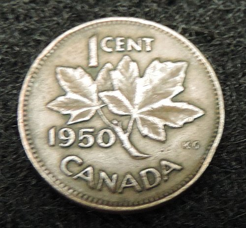 1950 Canadian 1 Cent Penny KM#41 1948-1952 George VI Post WWII Issue
