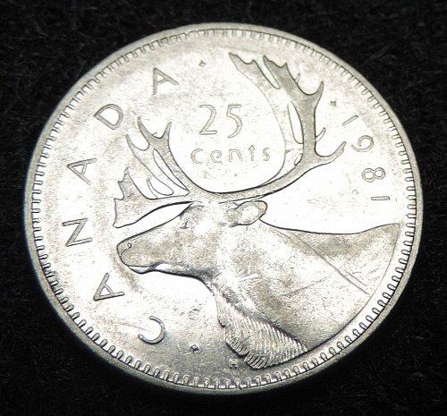 1981 Canadian 25 Cent Quarter KM#74 1979-1989 Very Good Condition